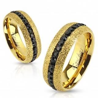 Oceľový prsteň zlatej farby, trblietavý, so zirkónovým pásom, 6 mm M16.21 - Veľkosť: 49 mm