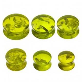 Piercing do ucha - plug, imitácia zeleného jantáru C36.6/C36.7 - Hrúbka: 10 mm