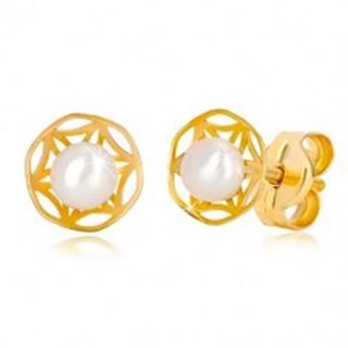 Puzetové náušnice zo 14K zlata - ornamentálny vyrezávaný kvet a perla