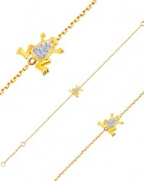 Náramok v 14K zlate - jemná retiazka, žabka s bielym zlatom a zirkónmi