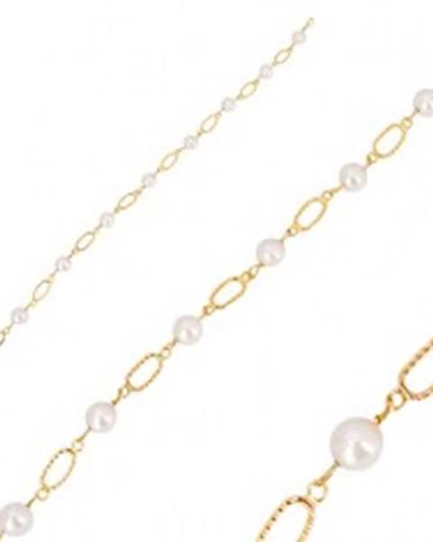 358b0f069 Náramok v žltom zlate 585 - biele guľaté perly, oválne očká so zárezmi GG35.