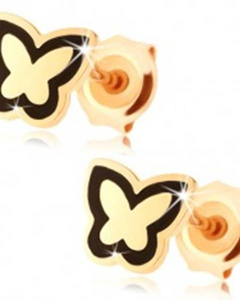 Náušnice zo zlata 585 - lesklý plochý motýlik, obrys z čiernej glazúry
