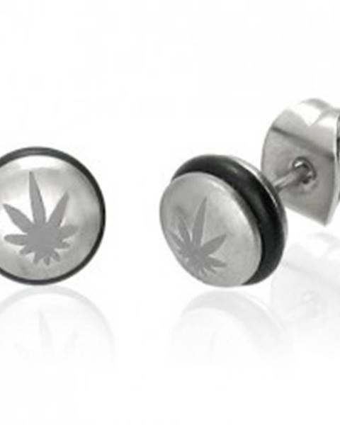 Oceľové náušnice, pologulička s čiernou gumičkou a listom marihuany