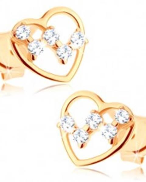 Puzetové náušnice zo žltého 14K zlata - tenký obrys srdca, číre zirkóniky