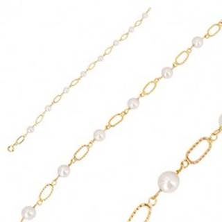 Náramok v žltom zlate 585 - biele guľaté perly, oválne očká so zárezmi GG35.26