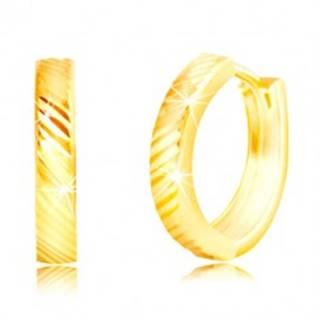 Náušnice v žltom 14K zlate - úzke lesklé krúžky s diagonálnymi líniami