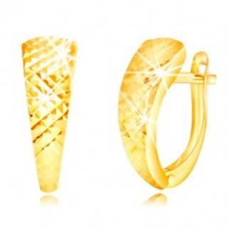 Náušnice v žltom zlate 585 - lesklý nesúmerný oblúk, drobné ihlany GG219.21