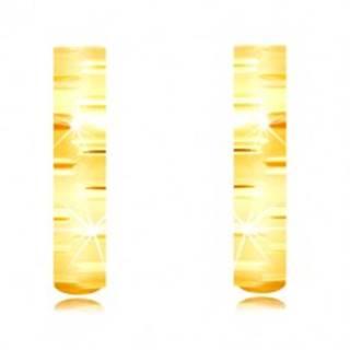 Náušnice zo žltého zlata 585 - úzke matné krúžky zdobené lesklými zárezmi