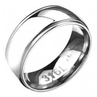 Prsteň z ocele - zaoblená obrúčka s dvoma ryhami po okrajoch C25.2 - Veľkosť: 57 mm