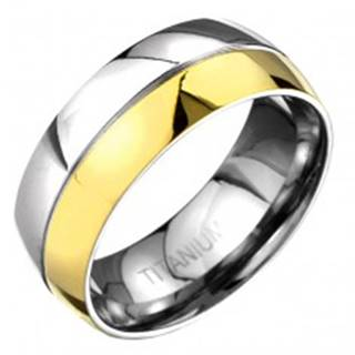 Prsteň z titánu - zlato-striebornej farby zaoblená obrúčka s deliacou ryhou C23.12 - Veľkosť: 57 mm