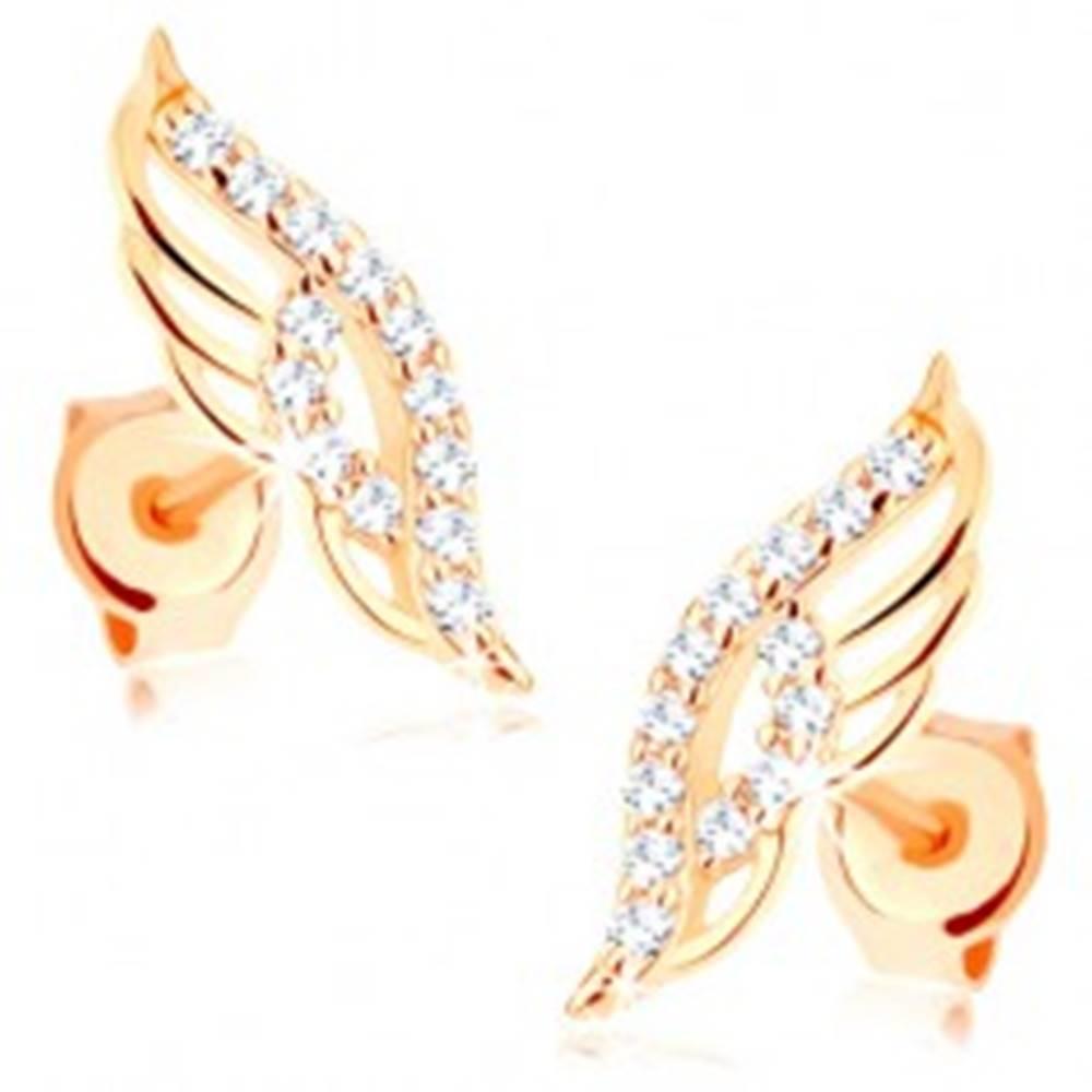 4efbde32c Náušnice v žltom 14K zlate - ligotavé anjelské krídlo zdobené čírymi  zirkónikmi GG85.17 značky ŠPERKY ESHOP