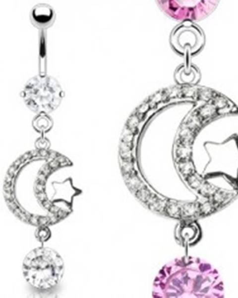 Luxusný piercing brucha zirkónový mesiac a lesklá hviezda - Farba zirkónu: Číra - C