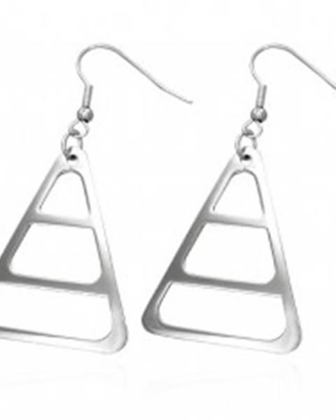 Náušnice z chirurgickej ocele, strieborná farba, zaoblený trojuholník