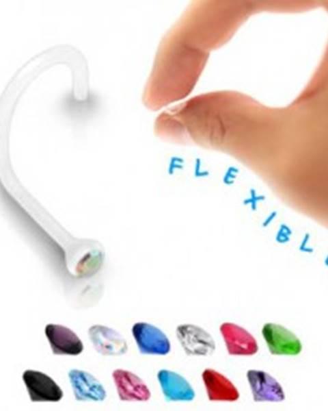 Piercing do nosa - transparentný BioFlex s farebným zirkónom  - Farba zirkónu: Aqua modrá - Q