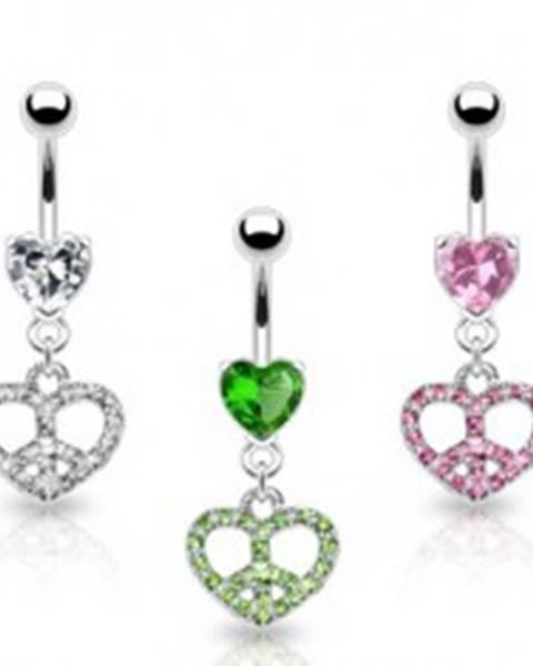Piercing do pupku srdce so znakom mieru - Farba zirkónu: Číra - C