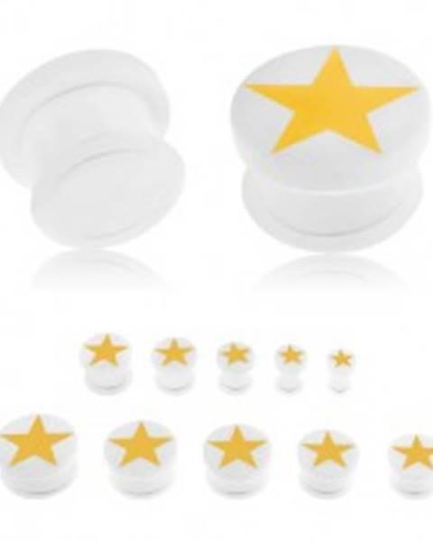 Plug do ucha z akrylu bielej farby, žltá päťcípa hviezda, gumička - Hrúbka: 10 mm
