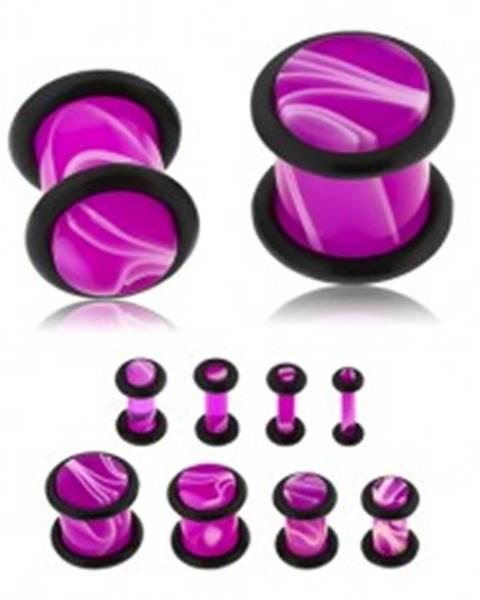 Plug do ucha z akrylu fialovej farby, biely mramorový vzor, dve gumičky - Hrúbka: 10 mm