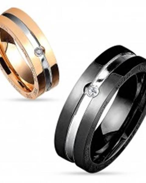 Prsteň z chirurgickej ocele, medená a strieborná farba, okrúhly číry zirkón, 6 mm - Veľkosť: 49 mm