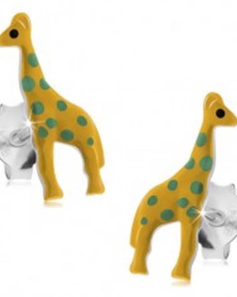 2c181b5d8 Puzetové náušnice, striebro 925, žltá glazúrovaná žirafa so zelenými  bodkami I24.12