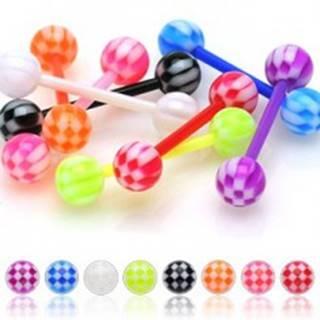 Akrylový piercing do jazyka, farebné guličky s motívom šachovnice - Farba piercing: Červená