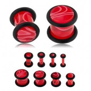 Akrylový plug do ucha, červená farba, mramorový vzor, čierne gumičky - Hrúbka: 10 mm