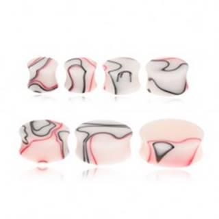 Akrylový plug do ucha s červeno-čiernym mramorovým vzorom - Hrúbka: 11 mm