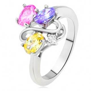 Lesklý prsteň - farebné oválne zirkóny, línia dvojitého S, číry kamienok - Veľkosť: 49 mm