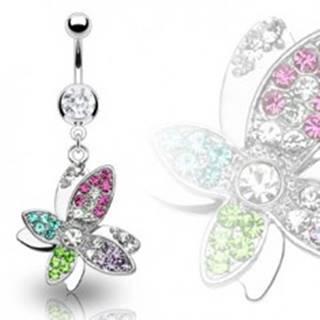 Luxusný oceľový piercing bruška krásny farebný kvet vyložený zirkónmi