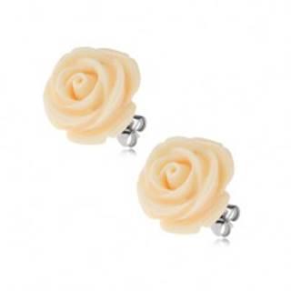Náušnice z ocele, krémová farba, kvet ruže, puzetové zapínanie, 14 mm S77.05