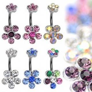Oceľový piercing do bruška ukončený zirkónovými kvetmi - Farba zirkónu: Číra - C
