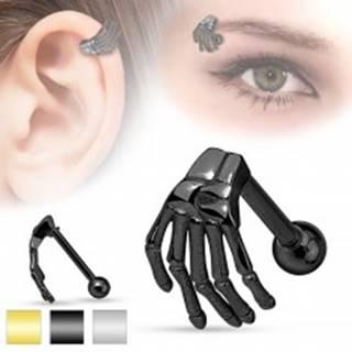 Oceľový piercing do ucha alebo obočia, kostra ruky, rôzne farby - Farba: Čierna