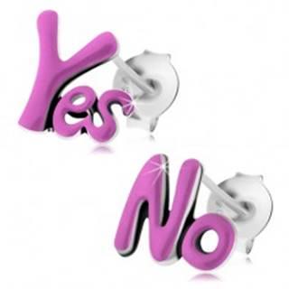 Patinované náušnice zo striebra 925, anglické nápisy Yes a No, fialová glazúra