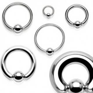 Piercing z chirurgickej ocele - lesklý krúžok s guličkou - Hrúbka x priemer x veľkosť guličky: 1,2 x 10 x 4 mm