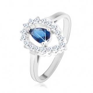 Prsteň, striebro 925, číra kontúra obrátenej kvapky s modrou zirkónovou slzou - Veľkosť: 50 mm