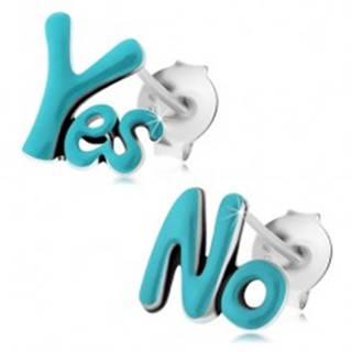 Puzetové náušnice, striebro 925, nápisy Yes a No, svetlomodrá glazúra, patina