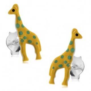 Puzetové náušnice, striebro 925, žltá glazúrovaná žirafa so zelenými bodkami