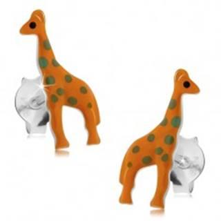 Strieborné 925 náušnice, oranžová žirafa so sivými bodkami, puzetky