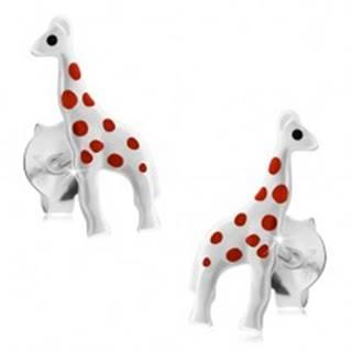 Strieborné náušnice 925, lesklá biela žirafa s červenými bodkami, puzetky