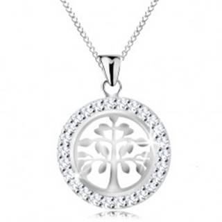 Strieborný 925 náhrdelník, prívesok - lesklý strom života v trblietavej obruči