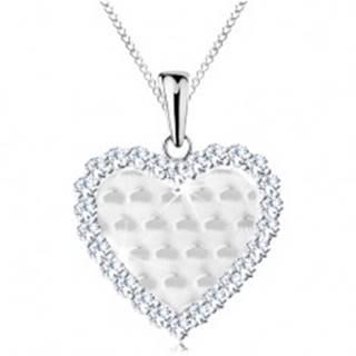 Strieborný 925 náhrdelník, srdiečko s ligotavými oblúčikmi a čírym lemom AC22.04