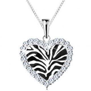 Strieborný náhrdelník 925, srdiečko s čiernym motívom zebry a čírymi zirkónikmi AC21.18