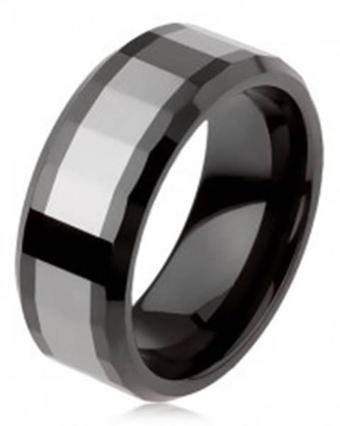Lesklý volfrámový prsteň, dvojfarebný, geometricky brúsený povrch - Veľkosť: 49 mm