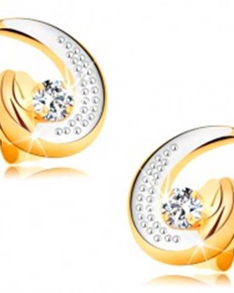 Náušnice v 14K zlate - čiastočná dvojfarebná kontúra slzy, zirkónik, gravírovanie