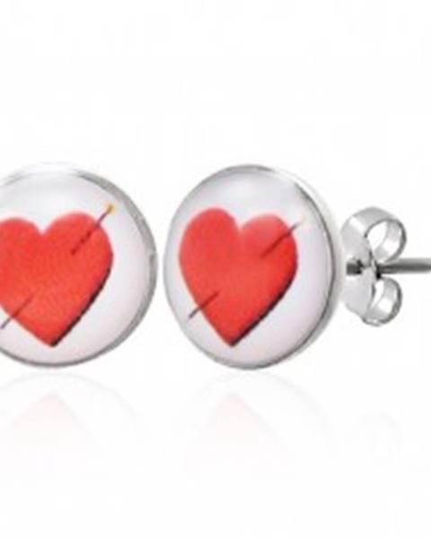 Náušnice z ocele s prepichnutým srdcom