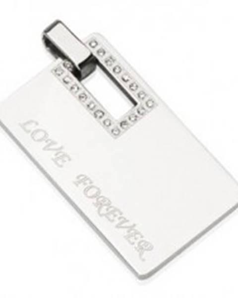1a578f0d1 Obdĺžnikový oceľový prívesok - LOVE FOREVER G2.29 značky ŠPERKY ESHOP