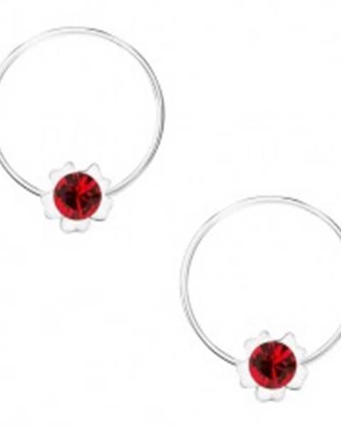 Okrúhle náušnice, striebro 925, červený kvietok, krištálik Swarovski
