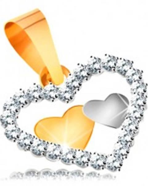 a20592d3f Prívesok v kombinovanom zlate 585 - dve malé srdiečka v kontúre srdca zo  zirkónov GG177.