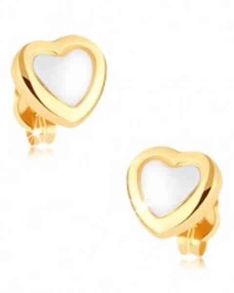 Ródiované náušnice v 9K zlate, srdce, lesklá žltá kontúra, biely stred GG38.06