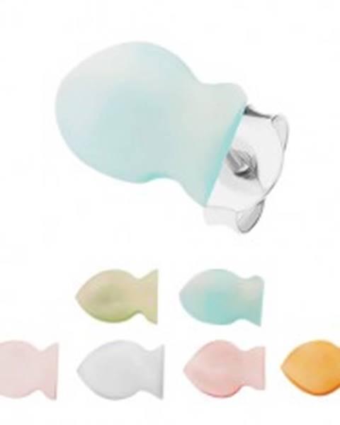 Strieborné 925 náušnice, farebné perleťové rybičky, hladký plochý povrch - Farba: Biela