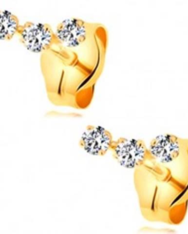 50cf7386c Náušnice zo žltého 14K zlata - oblúčik z troch drobných čírych zirkónov  GG177.39